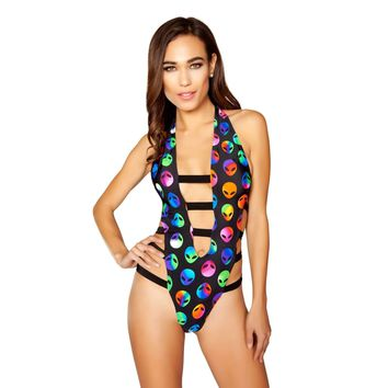 Roma Rave 3296 - Open Strappy Printed Romper with Hook Closure