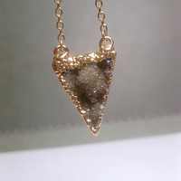 Small Druzy Triangle Necklace Brown Tan Electroplated Gold Edging - 14k Gold Filled Chain Optional