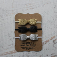 Set of 3 Mini Glitter Bow Headbands- Gold, Black and Silver  - Newborn Baby to Adult - Hair Bows