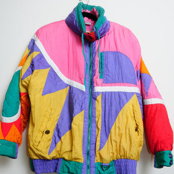 Amazing Vintage 80s/90s Awesome Lisa Turtle Vibes Colorful Art Abstract Zip Up Winter Jacket Unisex