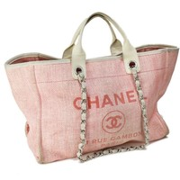 Auth CHANEL Hand Bag Pink Canvas