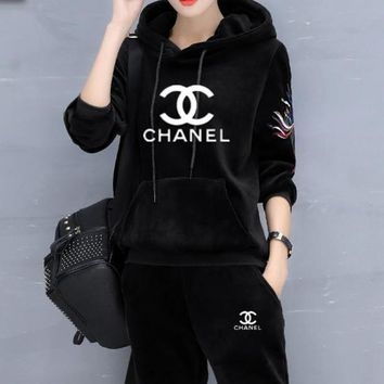 "Kalete ""Chanel"" Fashion Casual Letter Print Hooded Embroidery Long Sleeve Two-Piece Sportswear I"