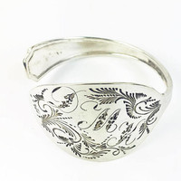 Engraved Floral Motif Spoon Bracelet with Initials Sterling Silver Vintage