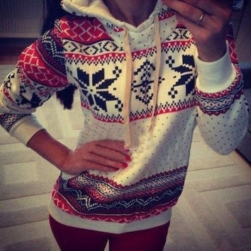Womens christmas Winter Hoodie Sweatshirt Jumper Sweater Hooded Pullover Top = 1919931460