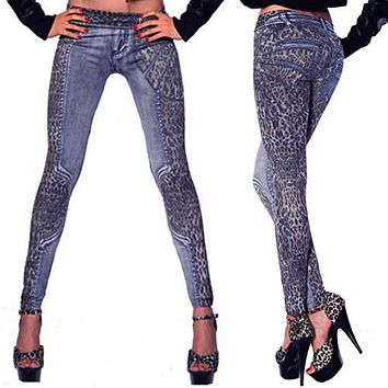 New and fashion Fashion Women Ladies' Pants Leopard Slim Fit Pencil Jeans Casual Trousers