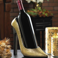 Glittering Gold High Heel Shoe Wine Bottle Holder