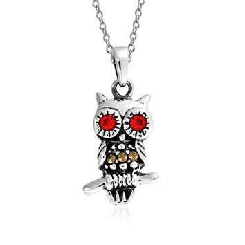 Marcasite Red Garnet Eyes Tiny Wise Owl Pendant Necklace 925 Silver