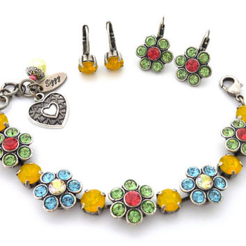 Swarovski crystal bracelet **SUMMER BLOSSOMS** Daisy Flower bracelet with yellow opal accents, bright and colorful, Siggy Jewelry