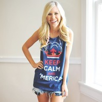 Unisex Keep Calm and 'Merica Tank Top in Navy Blue