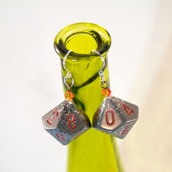 Dice Earrings - Orange and Gray Speckled D10 with Crystal Accents