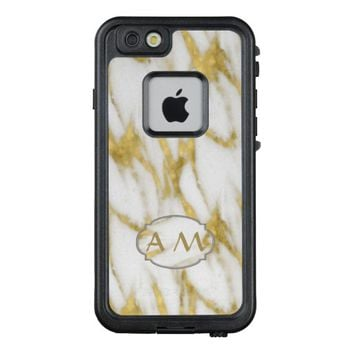 Elegant White Marble with Gold Custom Monogram LifeProof® FRĒ® iPhone 6/6s Case