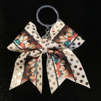1D One Direction Gold Cheer/Cheerleading/Dance Bow Ribbon Keychain
