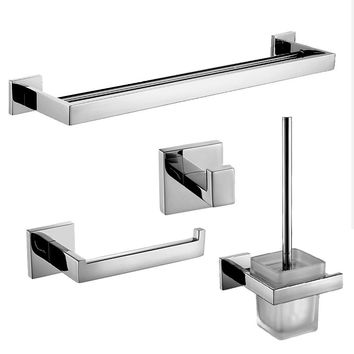 Morden Chrome Silver Polish Stainless Steel Wall Mounted Bathroom Hardware Set Polished Towel Rack/ Toilet Paper Holder
