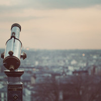 Sunset in Paris Photography, Telescope, Binoculars, Montmartre View, Pastel, Pink, Blue, Urban Fine Art Print - I Can See For Miles
