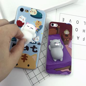 Cover case for iphone 6 S 6S plus 7 7plus 3D Cute Cat Soft Silicon TPU Squishy phone cases for iphone 5 5S SE Housing Coque capa