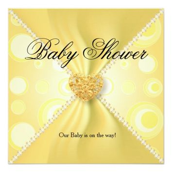 Yellow Polka Dots Satin Baby Shower 5.25x5.25 Square Paper Invitation Card