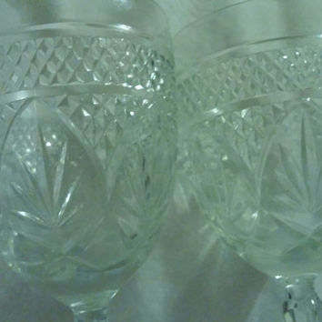 "A Charming Set of  Two Vintage Luminarc Durand Cris d'Arques 8"" Tall Wine/Water Glasses"
