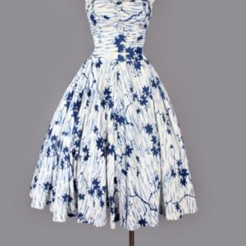 1950's Blue & White Hawaiian Dress By Kahala - M/L VINTAGE HAWAIIAN CLOTHING & DRESSES 1940's - 1950's :