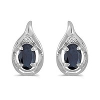 14K White Gold Oval Sapphire and Diamond Earrings( 1.20ct tgw)