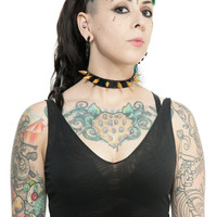 Holographic black vegan leather collar gold spikes any color spikes punk bondage made to order