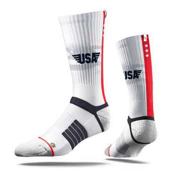 Strideline® 2.0 USA Stars and Stripes, White Crew Socks