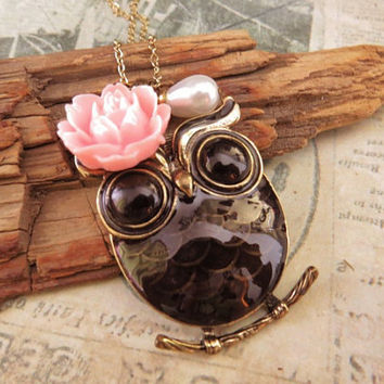 Wide awake owl. a charm necklace with rose and pearl accent