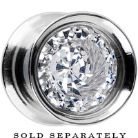 00 Gauge Clear Gem Shimmerlite Tunnel MADE WITH SWAROVSKI ELEMENTS | Body Candy Body Jewelry