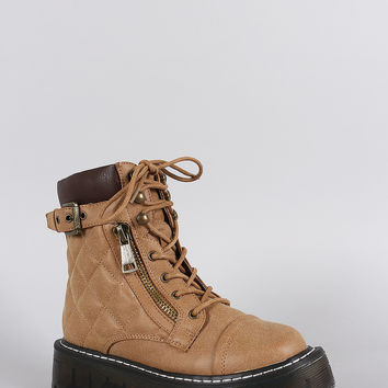 Zipper Combat Lace Up Lug Sole Flatform Ankle Boots
