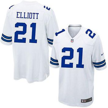 Ezekiel Elliott Dallas Cowboys Nike NFL White Game Men's Jersey 100% Authentic