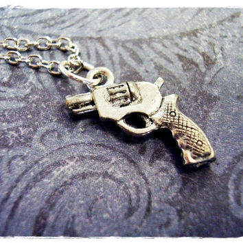 Tiny Silver Revolver Necklace - Antique Pewter Revolver Charm on a Delicate 18 Inch Silver Plated Cable Chain