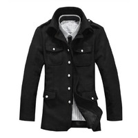Men Point Collar Button-tab Epaulets Four Flap Pockets Front Coat