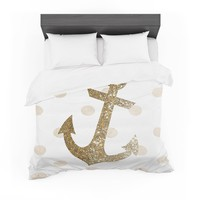 "Nika Martinez ""Glitter Anchor"" Gold Sparkles Featherweight Duvet Cover"