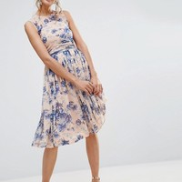 ASOS Midi Dress With Ruched Panel Detail in Pretty Floral Print at asos.com