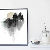 Mountain art print, watercolor nature print, black and white minimal home wall decor, apartment wall art, gift, illustration, painting,