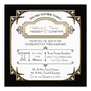 Art Deco Great Gatsby Style Typography n Lace Gold Invitation from Zazzle.com