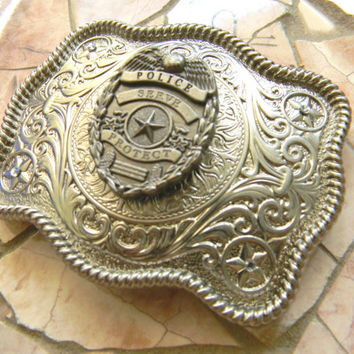 Silver Police Concho Belt Buckle,  Western Womens Mens Engraved Law Enforcement Buckle, Police Belt Buckle, Cop Wife Girlfriend Police Badge