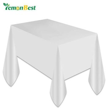 MDIGYN5 1PC White Plastic Disposable Plastic Table Cover Tablecloth Kids Birthday Party Decoration Baby Shower Decoration Supplies