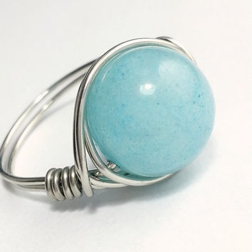 Silver Wire Wrapped Blue Sponge Quartz Ring, Large Aqua Sky Blue Silver Ring, Boho Hippie Ring, Bohemian Bridesmaid Jewelry Stone Wrap Ring
