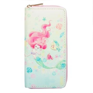 Sansarya 2018 Cute Fables Mermaid Print Long Woman Wallet Card Holder Wallet PU Leather Clutch Zipper Female Purse Money Bag