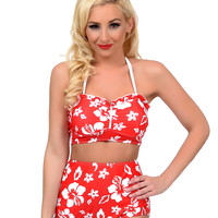 Vintage 1950s Style Pin Up Red & White Hawaiian Floral High Waisted Hokulani Swim Bottom