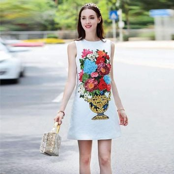 Appliques Beading Diamond Sequins Dress Floral Print Sleeveless Mini Dress