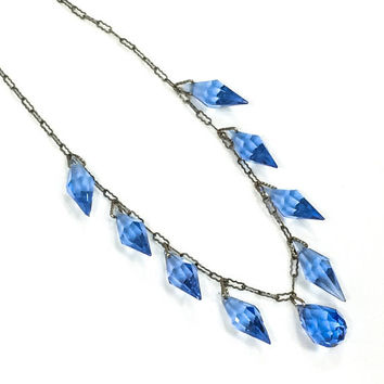 Art Deco Crystal Necklace, Blue Dangle Necklace, Blue Crystal Choker, Paper Clip Chain, 1920s, Wedding Jewelry, Antique Jewelry