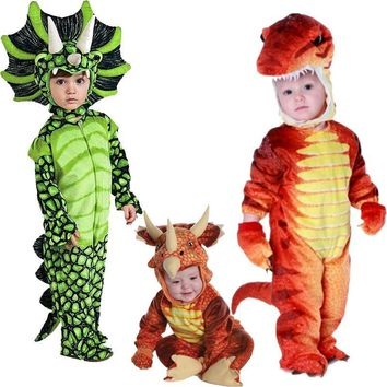 Cool New Triceratops Costume Boys Kids Little T-Rex Costume Cosplay Dinosaur Jumpsuit Halloween Cosplay Christmas costumes for kidsAT_93_12