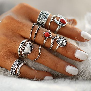 Vintage Moon Sun Red Natural Stone Bohemian Midi Finger Knuckle Rings Set