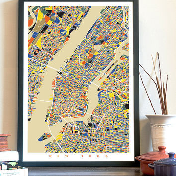 NEW YORK Map Art Print, Giclée Print, New York Wall Art