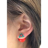 Triangle Orange & Turquoise Double-Sided Earrings