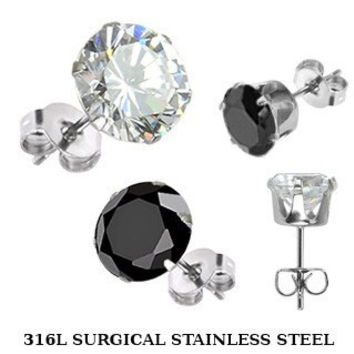 Shooting Star - FINAL SALE Surgical Stainless Steel Stud Earrings with Clear or Black Cubic Zirconias