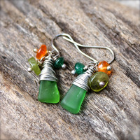 Sea Glass Jewelry from Hawaii - Green Seaglass Earrings made in Hawaii - Hawaiian Jewelry - Gypsy Earrings - Boho Jewelry Sea Glass Earrings