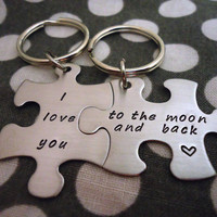 Personalized Puzzle Piece Key Chain Duo - Hand Stamped Stainless Steel