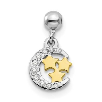 Sterling Silver Mio Memento Rhodium And Gold Tone And CZ Moon Charm